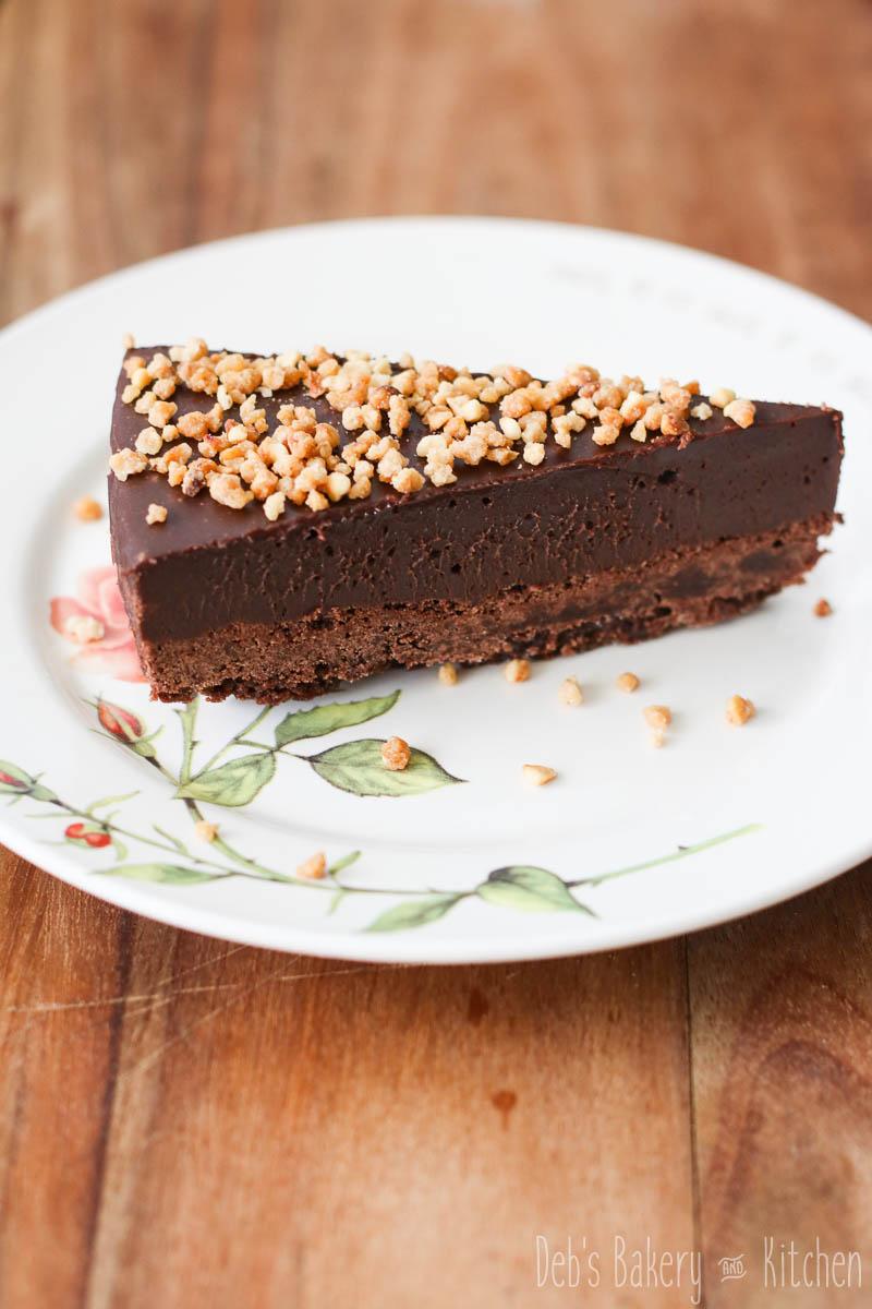 Chocolade fudgetaart met shortbreadbodem