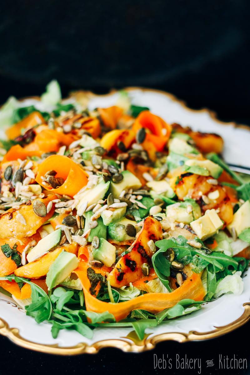 Perzik wortelsalade met avocado