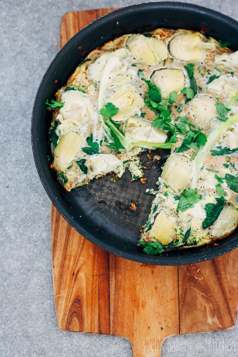 frittata met artisjok en spinazie