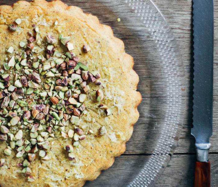 Polenta citroen cake met pistache noten