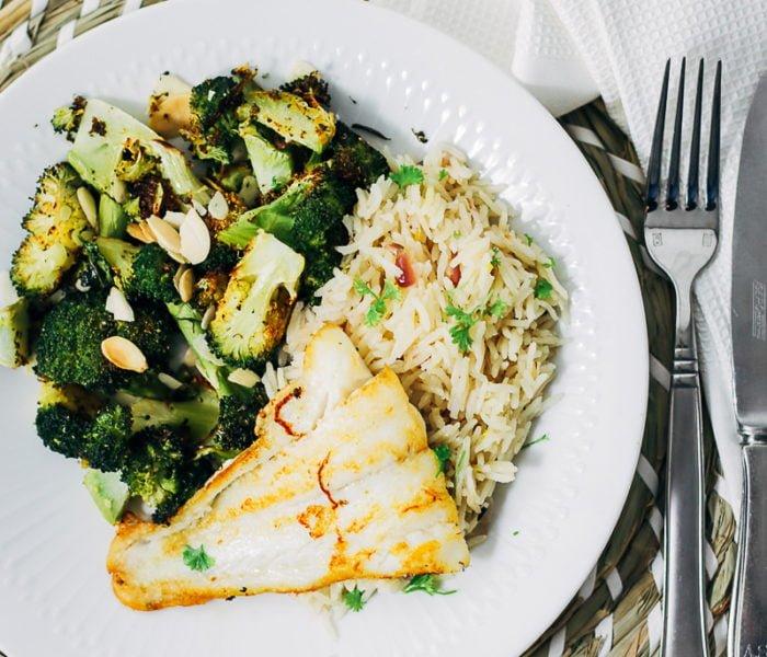 Citroenpilav met broccoli en kabeljauw