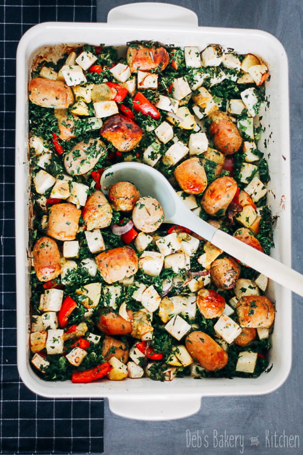 Ovenschotel met saucijsjes en boerenkool met mosterdsausje