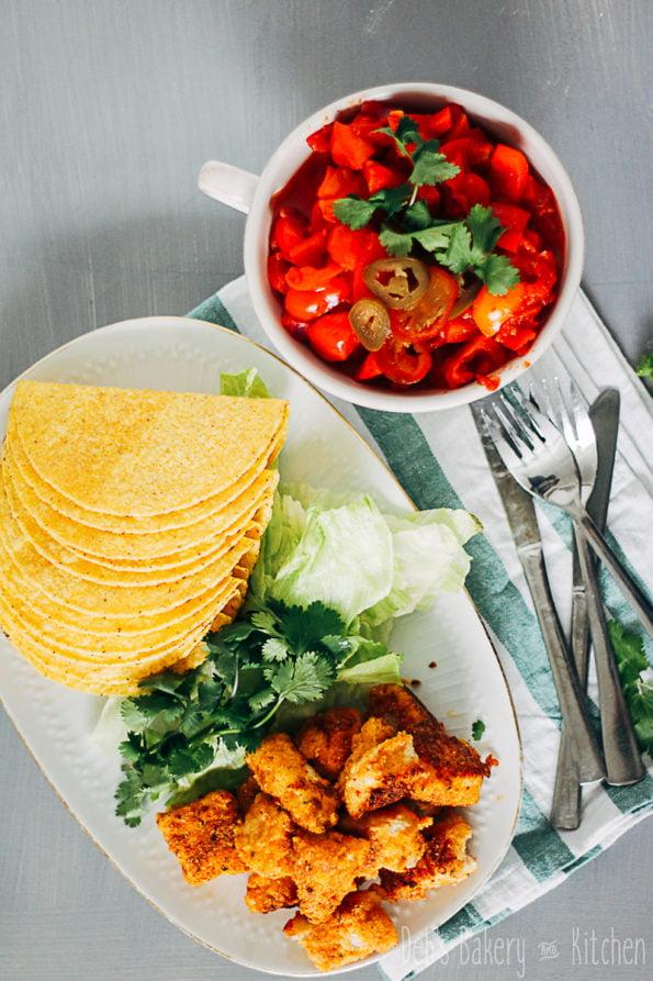 Taco's met crispy kabeljauw en paprikasaus