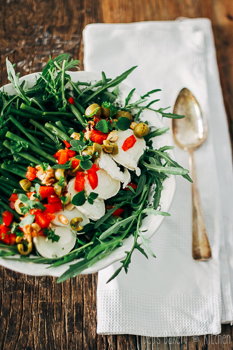 salade met haricots verts, paprika en geitenkaas