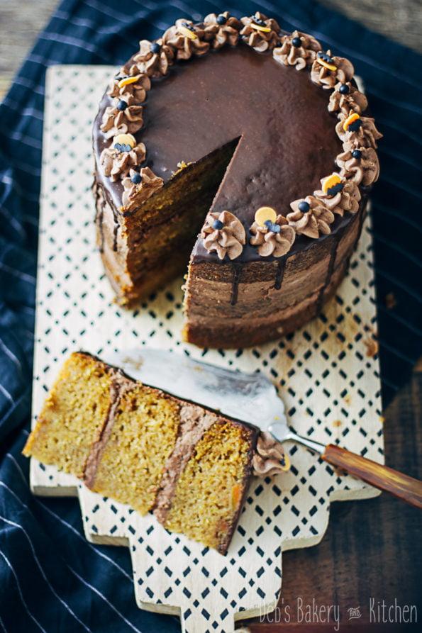 pompoencake met romige chocoladefrosting