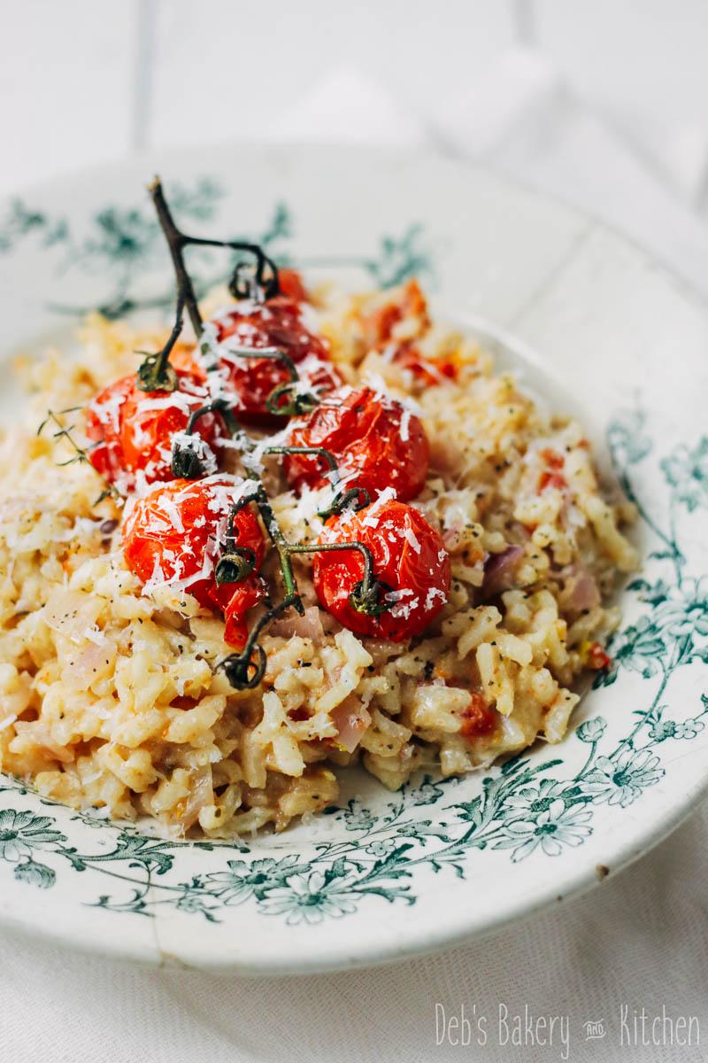 risotto met geroosterde tomaatjes en ricotta