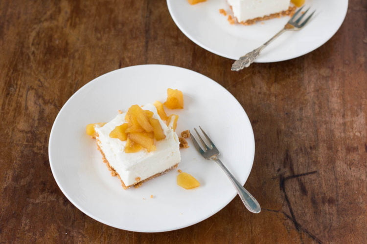 amaretto cheesecake met gekarameliseerde appel