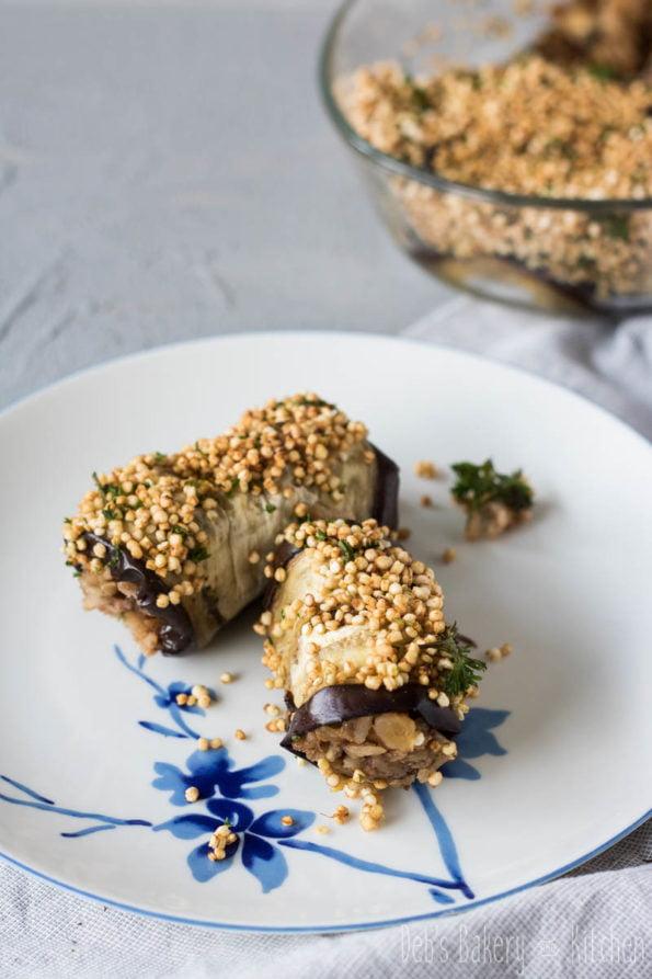 auberginerolletjes met rijst, dadels en linzen