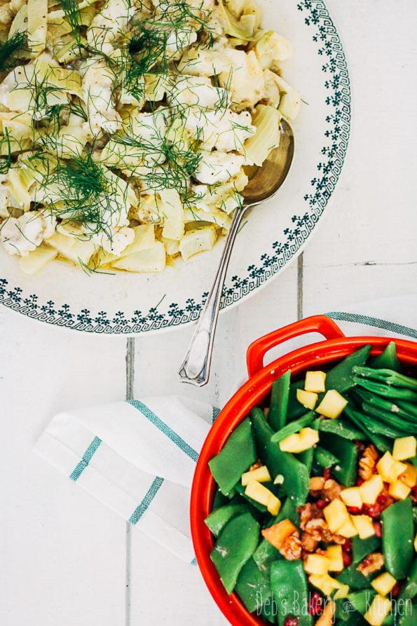 Zeeduivel met venkel en snijbonen mango salade