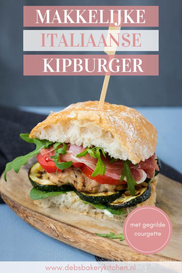 Italiaanse kipburger met courgette en Parmaham