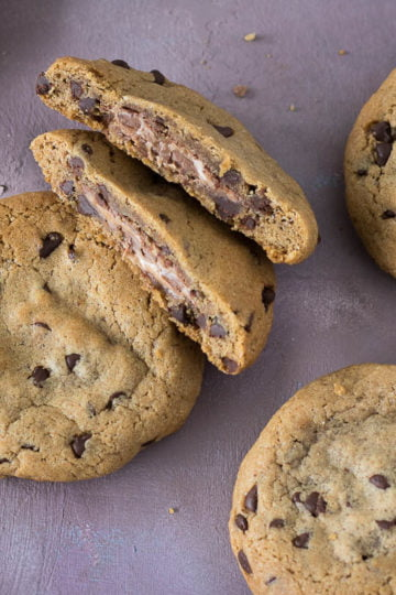 snelle chocolate chip cookies met chocoladevulling