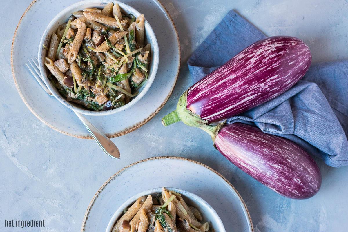 Volkoren pasta met zalm, aubergine en raapstelen