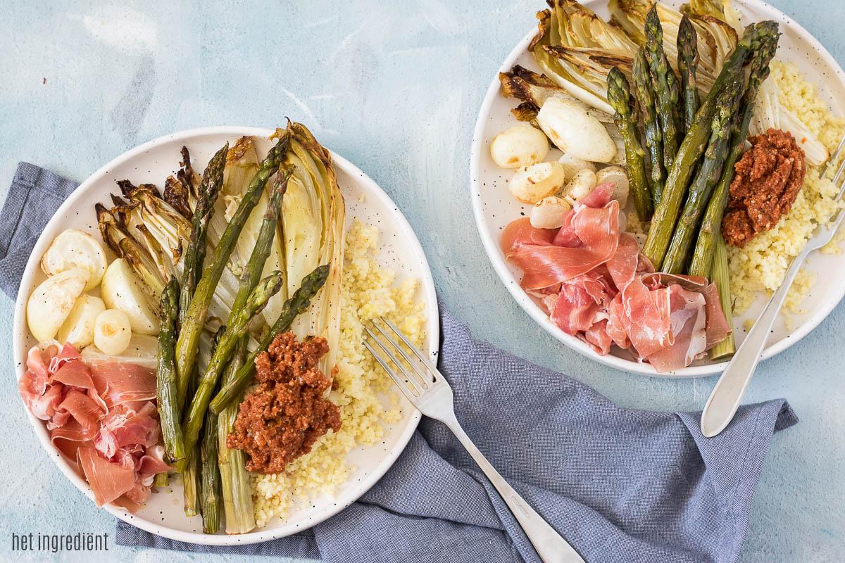 Couscous met gegrilde groenten en tomaten tapenade