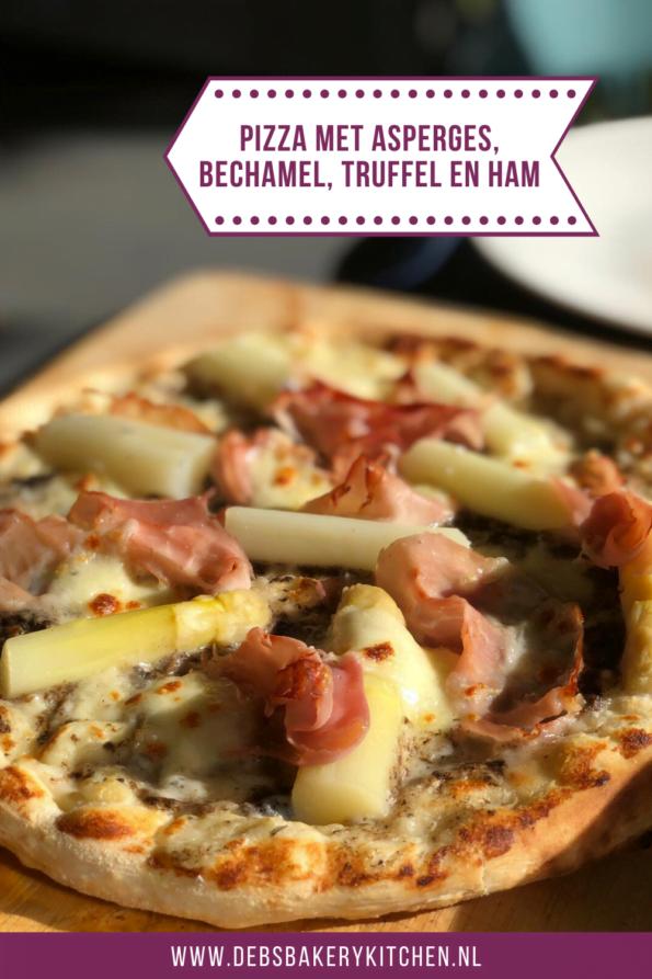 pizza met asperges, bechamel, truffel en ham