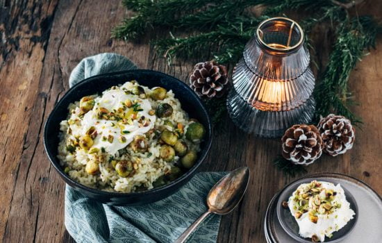 Risotto met gegrilde spruitjes, mascarpone en pistachenoten