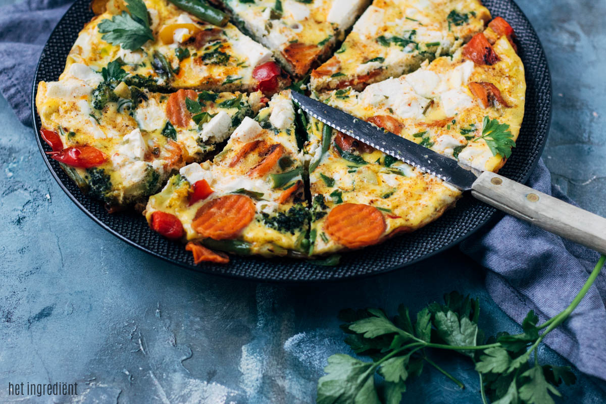 Frittata met Hollandse groenten en feta
