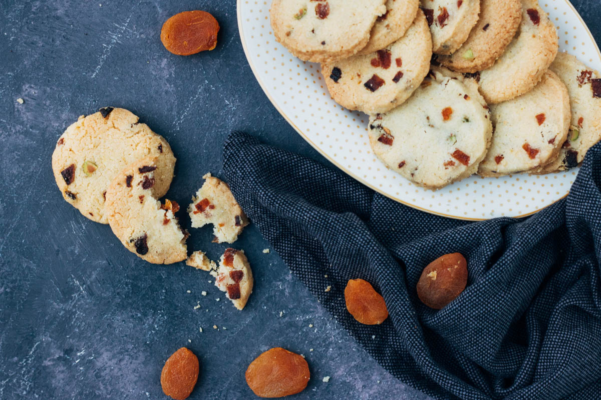 Shortbread koekjes met abrikozen en pistachenoten