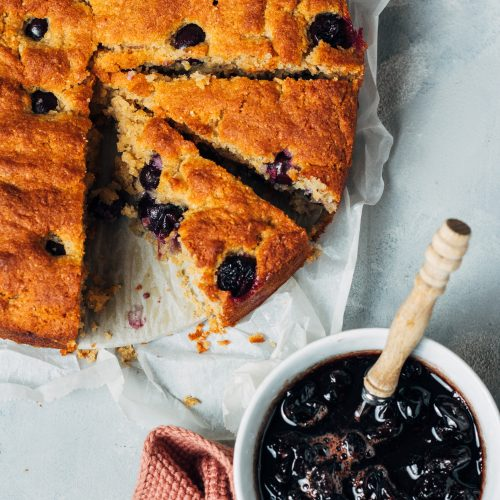 glutenvrije polenta cake met druiven