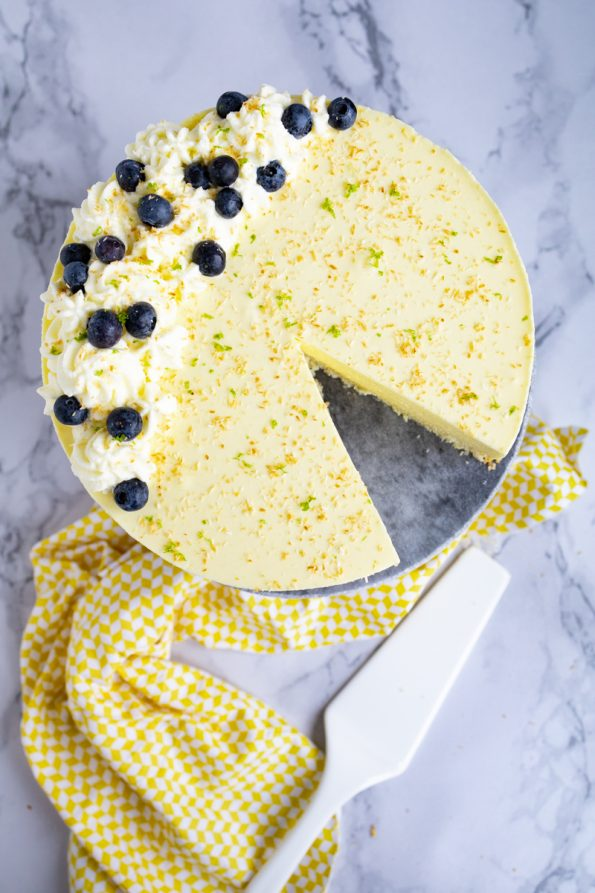 Mango limoen cheesecake met kokosbodem